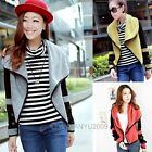 Womens New Korean Slim Long Sleeve Big Lapel Knit Cardigan Short Coat Jacket Top