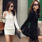 Fashion Women Casual Long Sleeve Lapel Neck Long Sleeve Bodycon Mini Shirt Dress
