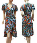 Cocktail Party Day Dress Orange Blue Firework Plus Size 24 22 20 18 16 14 12 New