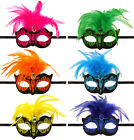 NEON MASQUERADE BALL FANCY DRESS MASK FEATHER GLITTER CARNIVAL PARTY MARDIS GRAS