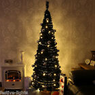 PRE-LIT ARTIFICIAL WARM WHITE LED POP UP CHRISTMAS TREE WITH DECORATIONS 6FT 7FT