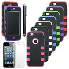 Colorful For iPhone 5C 5 Rugged Hybrid Impact Combo Hard Soft Matte Case Cover
