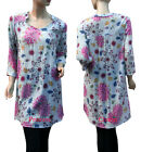 Womens Blue Pink Yellow Floral Summer Shirt Top Long w Sleeves Size 10 14 16 New