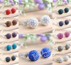 Fashion Sparkling Clay Crystal Ball Steel Earring Stud 10/8mm Total 12 Color