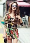 New Womens Sexy   V Neck Long Sleeve Hip Package Floral Print Slim Party Dress