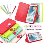 CHERRY LEATHER WALLET FLIP STAND CASE COVER FOR SAMSUNG GALAXY NOTE 2 II N7100