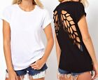 Womens Fashion Punk Backless Hollow Wing Cut out Casual Blouse Tops Tee Shirt