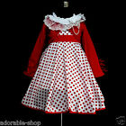 W3122 Reds White Girls Party Dress + Red Cardigan SET AGE SIZE 2,3,4,5,6,7,8,10Y