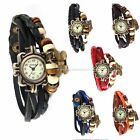 Vintage Ladies Girl Bead Butterfly Pendant 6 Colors Bracelet Quartz Wrist Watch