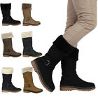 Ladies Quilted Womens Buckle Winter Warm Grip Sole Calf Zip Boots Shoes Size 3-8