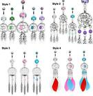 Surgical Steel Dream Catcher Belly Bar / Navel Ring - Choose Style and Colour