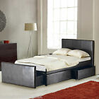 LEATHER 4FT6 DOUBLE STORAGE BED WITH 3 LARGE DRAWERS BLACK/BROWN - FREE DELIVERY