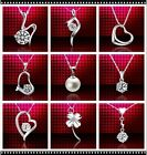 New Genuine 18K Gold Necklace CZ Crystal Chain + Pendant Silver Necklace Box925
