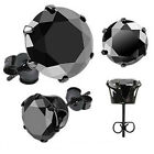 Pair of Black Round Cut CZ Gem Black IP Surgical Stainless Steel Stud Earrings