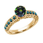 1.30 Ct Round Green Mystic Topaz Blue Diamond 14K Yellow Gold Ring