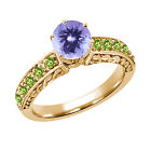 1.26 Ct Round Blue Tanzanite Green Peridot 18K Yellow Gold Ring