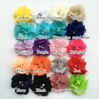 "Hair accessory Flat Back 2"" mini chiffon flower pearl rhinestone lace DIY flower"