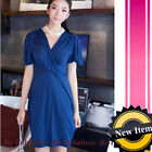 Blue Grecian Slouchy Plunging Party Dress L-XL-1X-2X