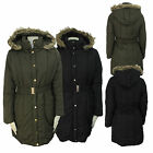 LADIES WOMENS HOODED PADDED LONG POLYESTER BELTED PARKA JACKET COAT SIZES 8-16