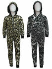 INFANT KIDS UNISEX HOODED LEOPARD PRINT ONESIE JUMPSUIT ALL AGES IN ONE UK SIZES