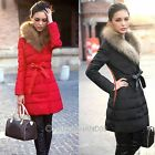 Women Slim Down Jacket Cotton Padded Fur Collar Midi Pattern Wadded Outwear Coat