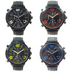 Mens Formal Cool Super Large Dial Sport Quartz Steel Silicone Band Wrist Watch