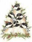 Ceramic Decals Christmas Winter Holiday Chickadee Bird Stack Holly Berry image
