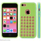 HOLLOW DOTS HOLE RETRO SILICONE CASE WITH PLASTIC BUMPER FRAME FOR NEW IPHONE 5C