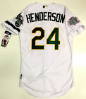RICKEY HENDERSON AUTHENTIC OAKLAND A's 89 WORLD SERIES MAJESTIC COOL BASE JERSEY