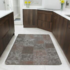 Small Large Beige Patchwork Rug Non Slip Durable Easy Clean Modern Kitchen Mats