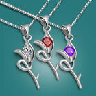 """Genuine Solid Sterling Silver CZ Flower Pendant Box Chain Necklace 17"""" SN079"""