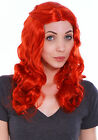 Hot New Fashion Red Long Curly Wavy Cosplay Party Hair Wigs Full Long Curly Wigs