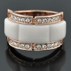 New 18K Rose Gold GP Clear Crystal Enamel Cocktail Ring VR223A