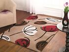Contemporary Beige Red Leaf Print Hand Tufted 100% Polyester Dining Quality Rugs