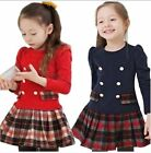 Girls Kids Pageant Long Sleeve Plaid Dress SZ2-7Y Pleated Skirt Toddler Clothing