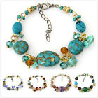 SB173 1pc Coloured Glaze Gemstone Shell Charm Tibetan Fashional Bracelet