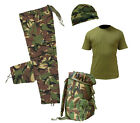 Kids Pack 21 Army Camo Fancy Dress Children's Soldier Outfit,Shirt Pants rucksac