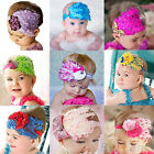 Baby Kids Girl Infant Lovely Peacock Feather Headband Lace Flower Hair Band BD2U