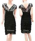 Cocktail Party Evening Pencil Dress Black Lace Chiffon Cap Sleeve SZ 8 10 12 16