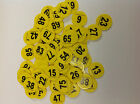 Numbered Plastic Discs Yellow Ideal for Raffles pack of 100 discs numbers 1-500