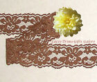 "12/24 Yards Brown 1-1/4"" Scalloped Floral Lace N35AV Added Items Ship FREE"