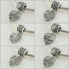 925 Solid Sterling Silver Family Love Dangle Bead fit European Charm Bracelet