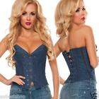 Denim Jean Boned Corset  Fashion Top- S M L XL 2XL