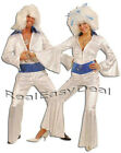 Adult Male Female Men Womens Disco Fever 60's 70's Abba DELUXE Costume Jumpsuit