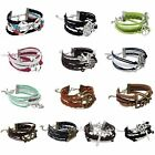 Hot Lots Style Leather Braid Infinity Charm Bracelet Multilayer Bangle Jewelry