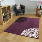 Small Large Purple Aubergine Modern Rugs Quality Soft Floral Living Room Rugs UK