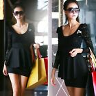 Women Long Sleeve Lace Top Peplum Skirt Cocktail Black Evening Mini Dress ER