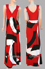 Red Black White Christmas Party Maxi Dress with Knotted Front SZ 8 10 12 16 New