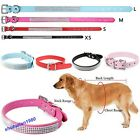 Bling Crystal Puppy  Buckle Pet's Collar Pet Dog's PU Leather Rhinestone Collar