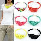 Womens Mixed Fluorescent Punk Handmade Woven Cotton Rope Necklace Candy Color